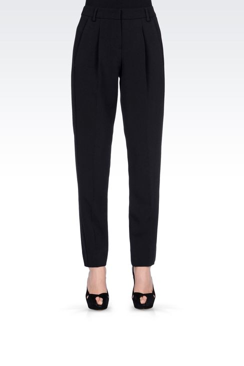 CIGARETTE TROUSERS IN TECHNICAL VISCOSE: Straight leg trousers Women by Armani - 3