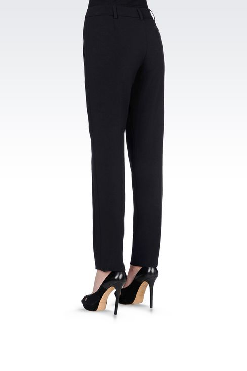 CIGARETTE TROUSERS IN TECHNICAL VISCOSE: Straight leg trousers Women by Armani - 4
