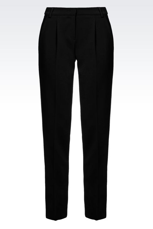 CIGARETTE TROUSERS IN TECHNICAL VISCOSE: Straight leg trousers Women by Armani - 1