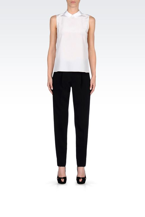 CIGARETTE TROUSERS IN TECHNICAL VISCOSE: Straight leg trousers Women by Armani - 2