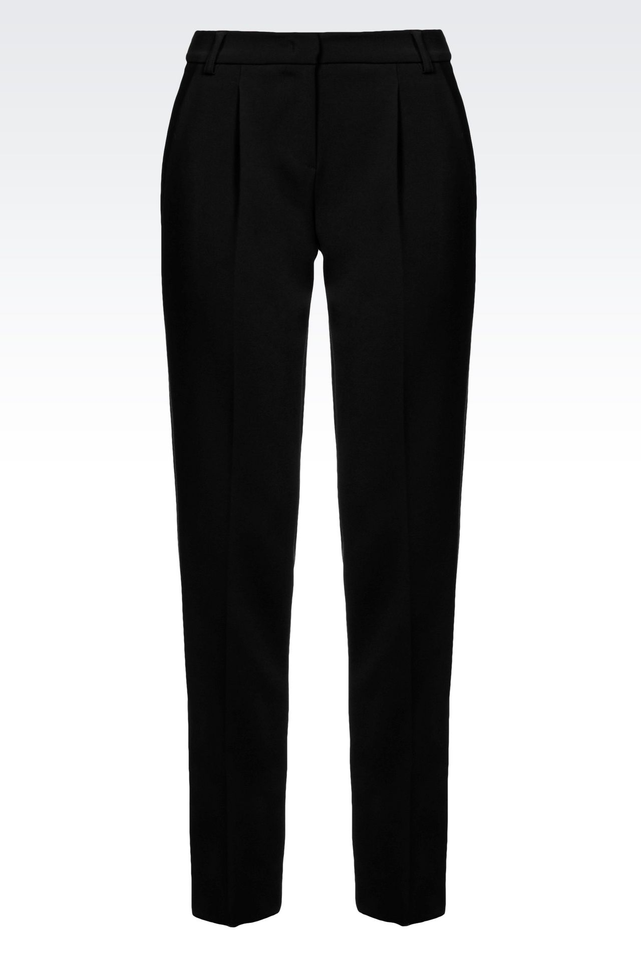 CIGARETTE TROUSERS IN TECHNICAL VISCOSE: Straight leg trousers Women by Armani - 0