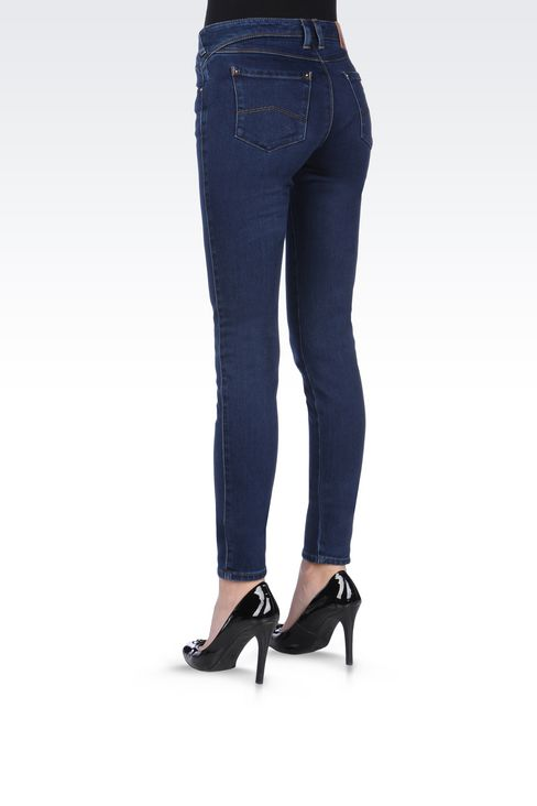 DARK WASH STRETCH LEGGINGS: Jeans Women by Armani - 4