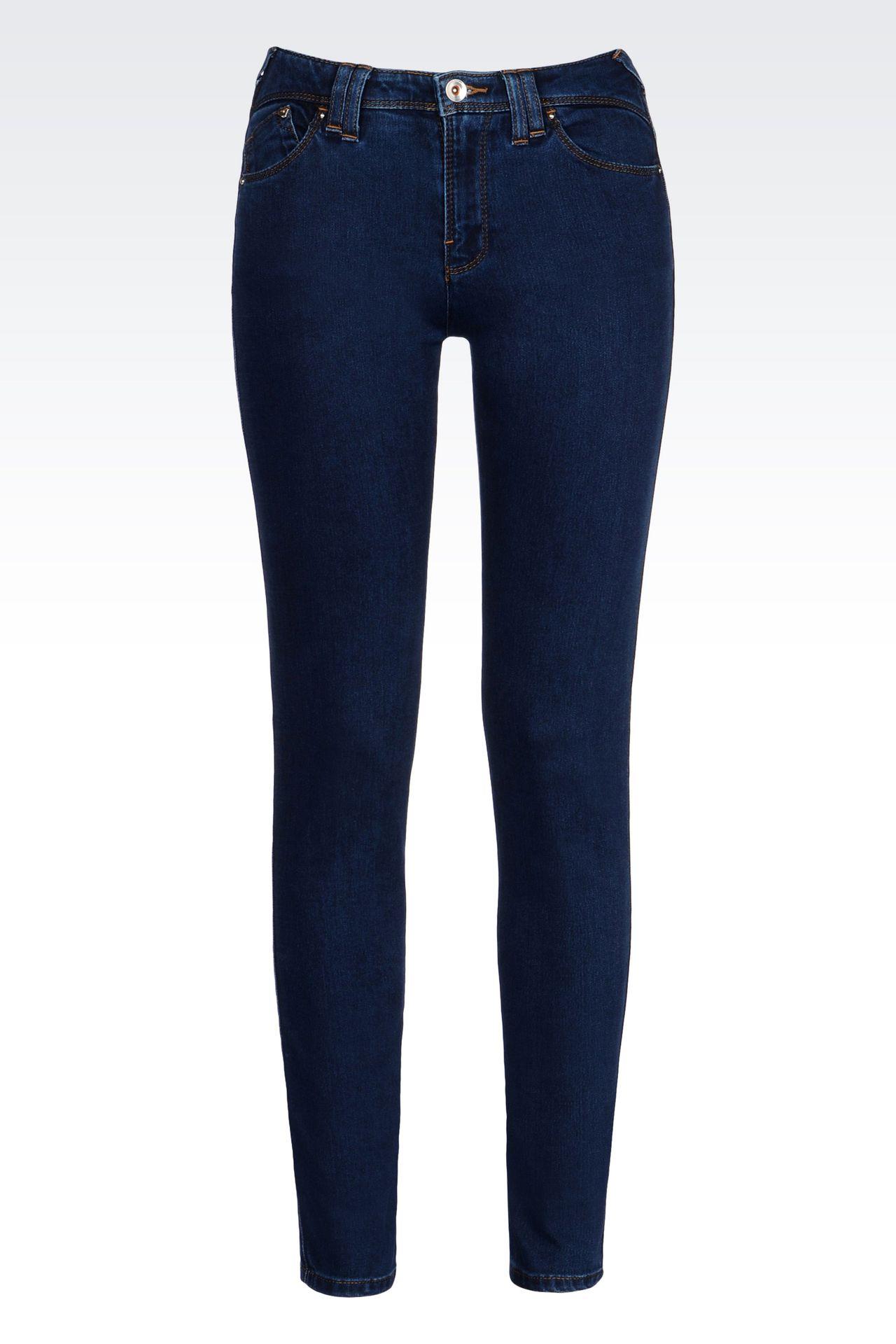DARK WASH STRETCH LEGGINGS: Jeans Women by Armani - 0