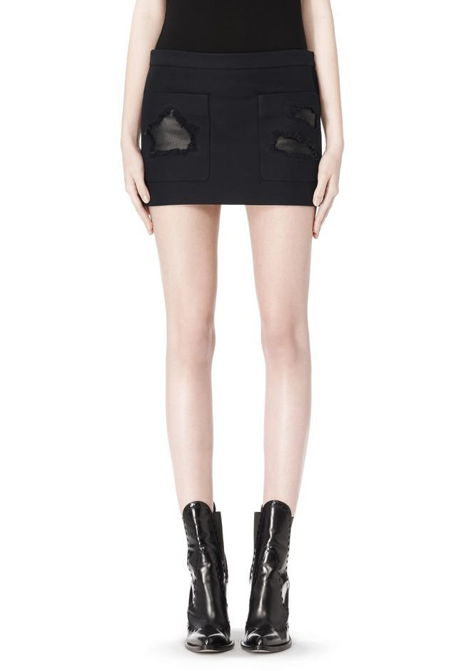 ALEXANDER WANG CROPPED SKIRT WITH DISTRESSED DETAIL SKIRT Adult 12_n_d