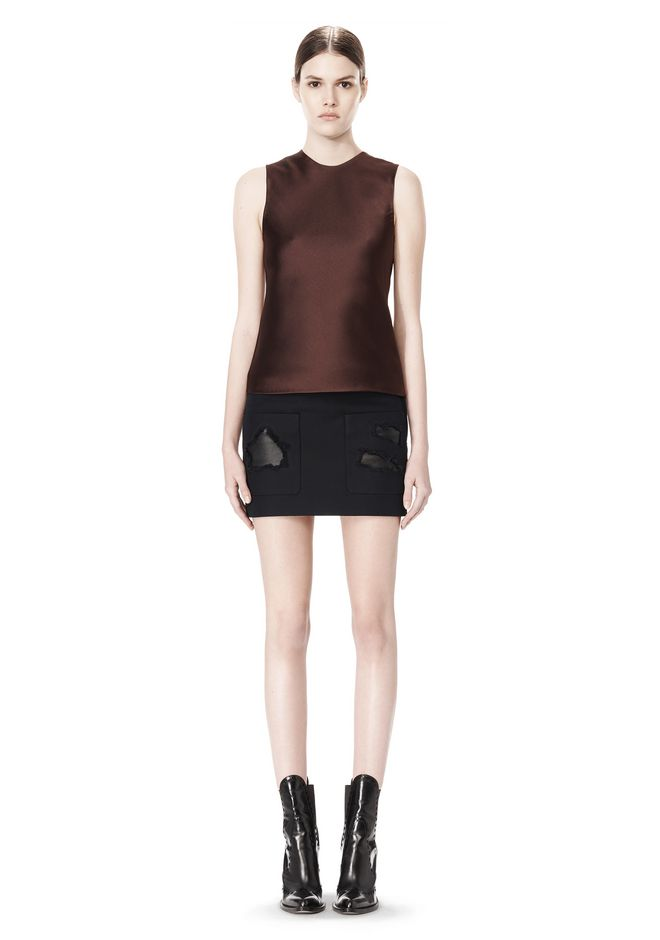 ALEXANDER WANG CROPPED SKIRT WITH DISTRESSED DETAIL