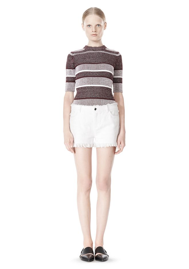 T by ALEXANDER WANG COTTON BURLAP CUT OFF JEAN SHORTS  SHORTS Adult 12_n_f