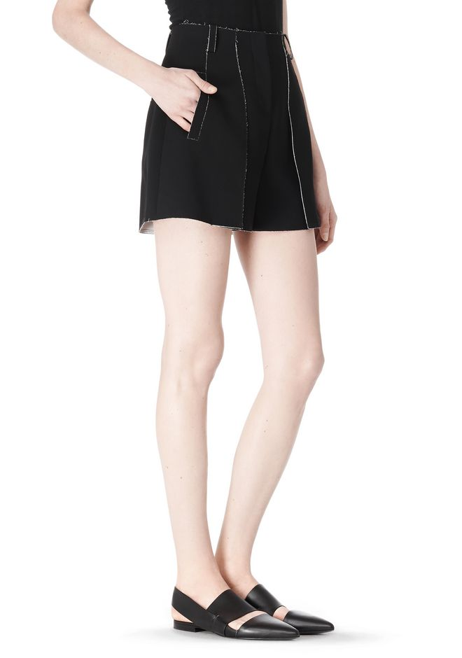 DOUBLE FACE BONDED HIGH WAISTED SHORTS