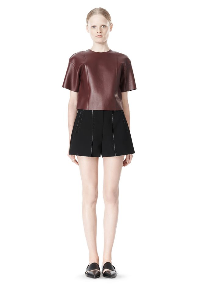 T by ALEXANDER WANG DOUBLE FACE BONDED HIGH WAISTED SHORTS