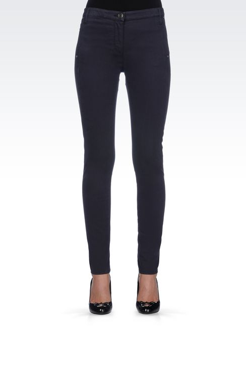 SKINNY FIT TROUSERS IN STRETCH COTTON SATIN: Straight leg trousers Women by Armani - 3