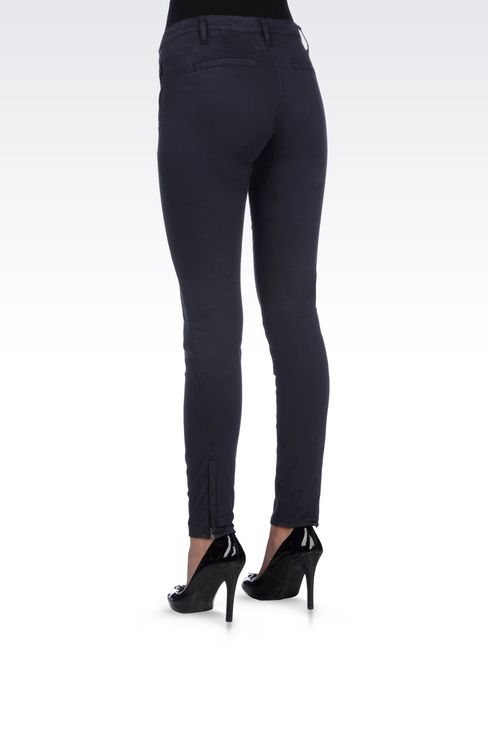 SKINNY FIT TROUSERS IN STRETCH COTTON SATIN: Straight leg trousers Women by Armani - 4