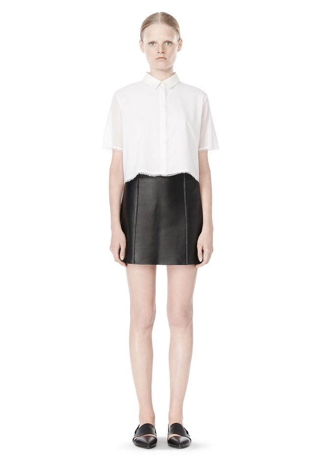 T by ALEXANDER WANG RAW EDGE A-LINE LEATHER SKIRT