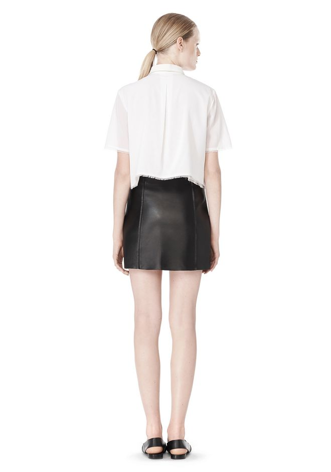 T by ALEXANDER WANG RAW EDGE A-LINE LEATHER SKIRT SKIRT Adult 12_n_r