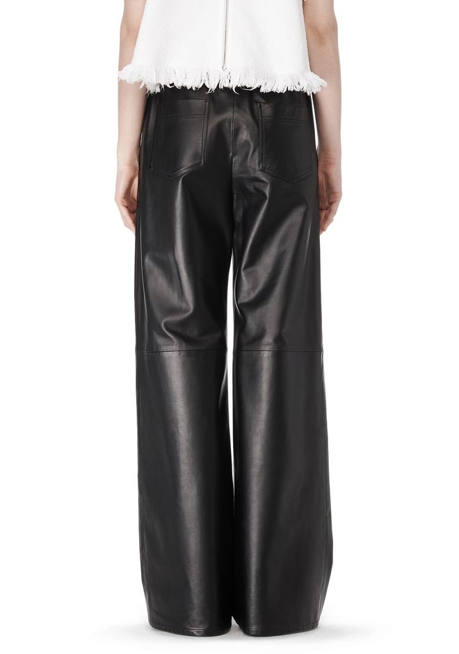 T by ALEXANDER WANG LEATHER PALAZZO TRACK PANTS PANTS Adult 12_n_a