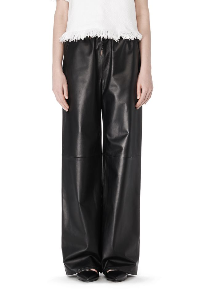 T by ALEXANDER WANG LEATHER PALAZZO TRACK PANTS PANTS Adult 12_n_d
