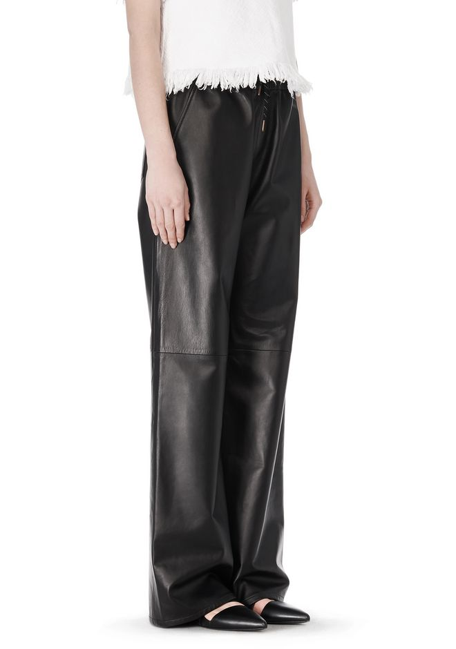 T by ALEXANDER WANG LEATHER PALAZZO TRACK PANTS PANTS Adult 12_n_e