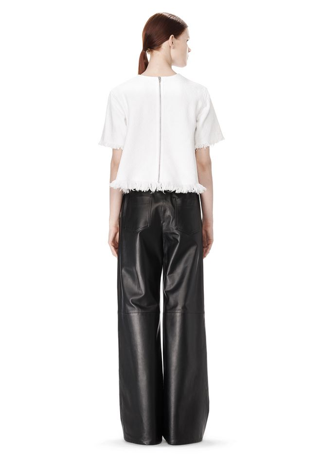 T by ALEXANDER WANG LEATHER PALAZZO TRACK PANTS PANTS Adult 12_n_r