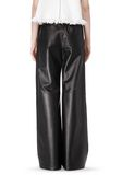 T by ALEXANDER WANG LEATHER PALAZZO TRACK PANTS PANTS Adult 8_n_a