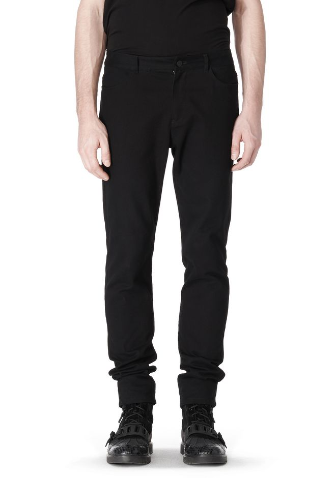 COTTON CANVAS TWILL JEANS WITH LEATHER BACK POCKET