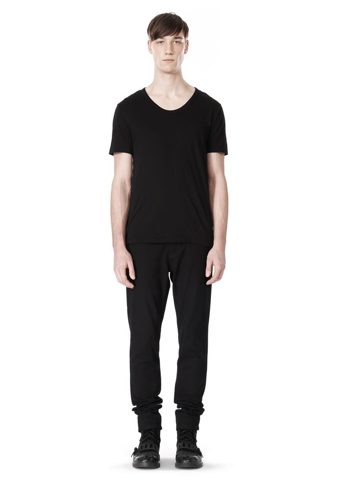 T by ALEXANDER WANG COTTON CANVAS TWILL JEANS WITH LEATHER BACK POCKET