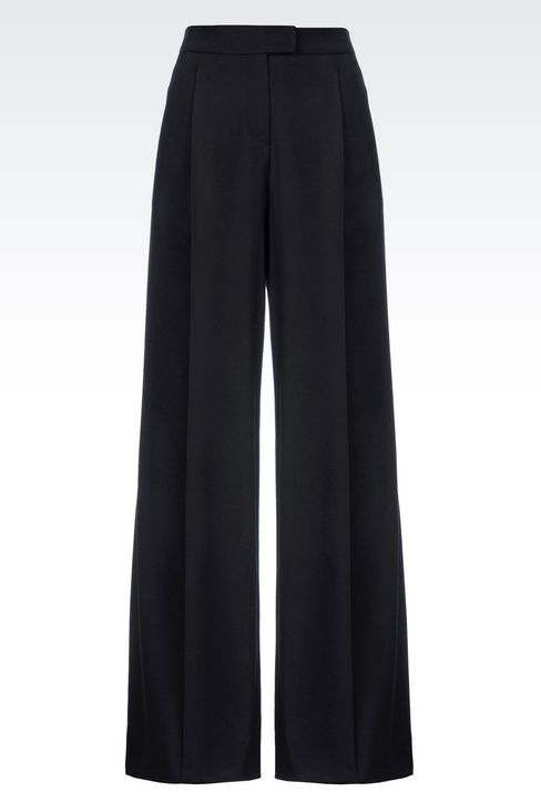RUNWAY PALAZZO TROUSERS IN VIRGIN WOOL: Wide-leg trousers Women by Armani - 1