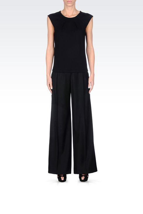 RUNWAY PALAZZO TROUSERS IN VIRGIN WOOL: Wide-leg trousers Women by Armani - 2