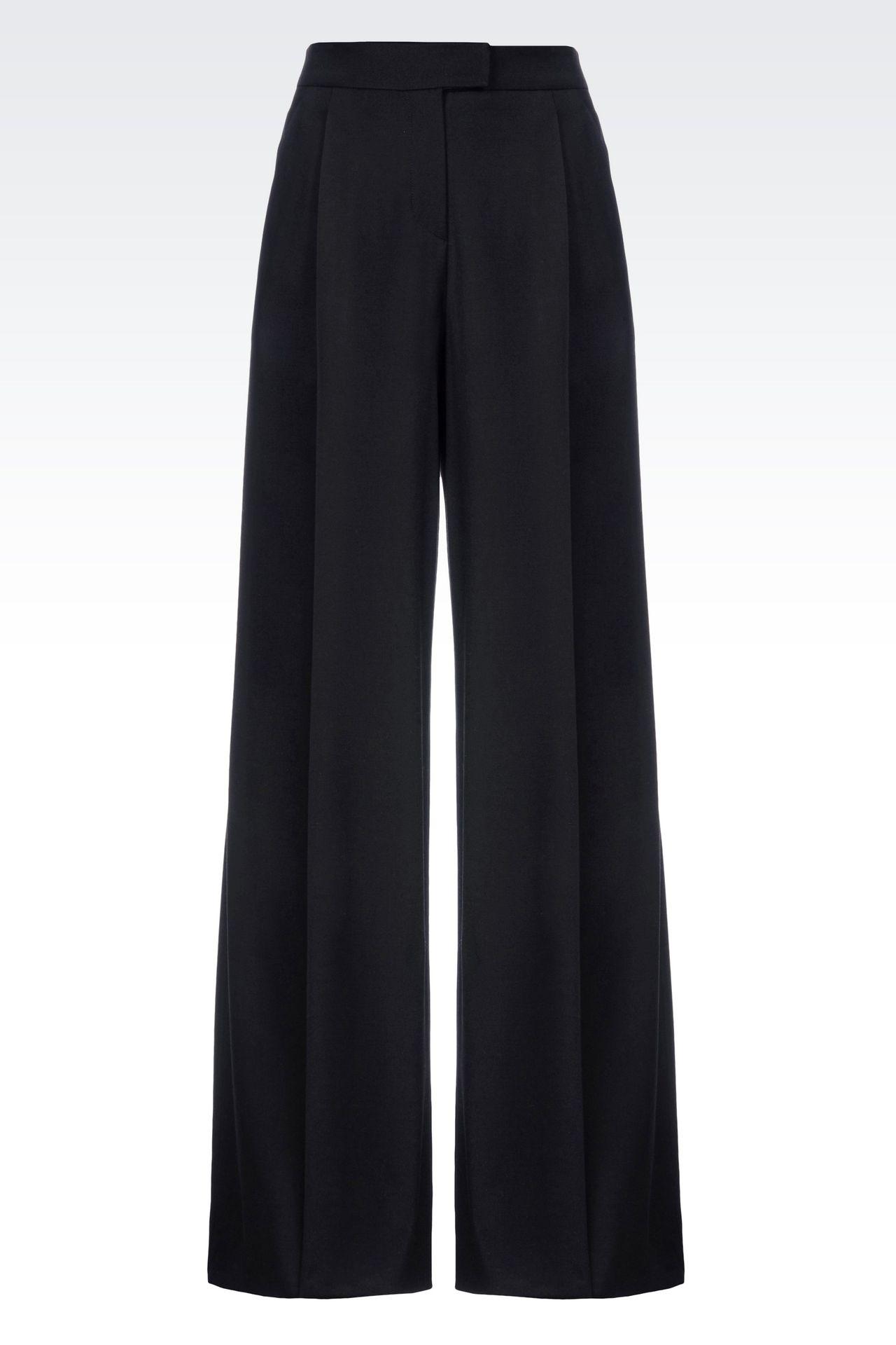 RUNWAY PALAZZO TROUSERS IN VIRGIN WOOL: Wide-leg trousers Women by Armani - 0
