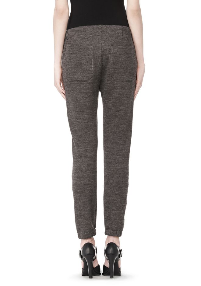 T by ALEXANDER WANG MELANGE FLEECE SWEATPANTS WITH RIB DETAIL PANTS Adult 12_n_a