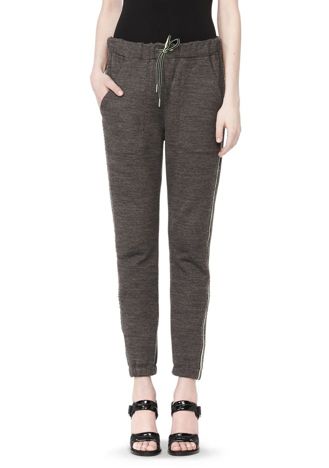 T by ALEXANDER WANG MELANGE FLEECE SWEATPANTS WITH RIB DETAIL PANTS Adult 12_n_d