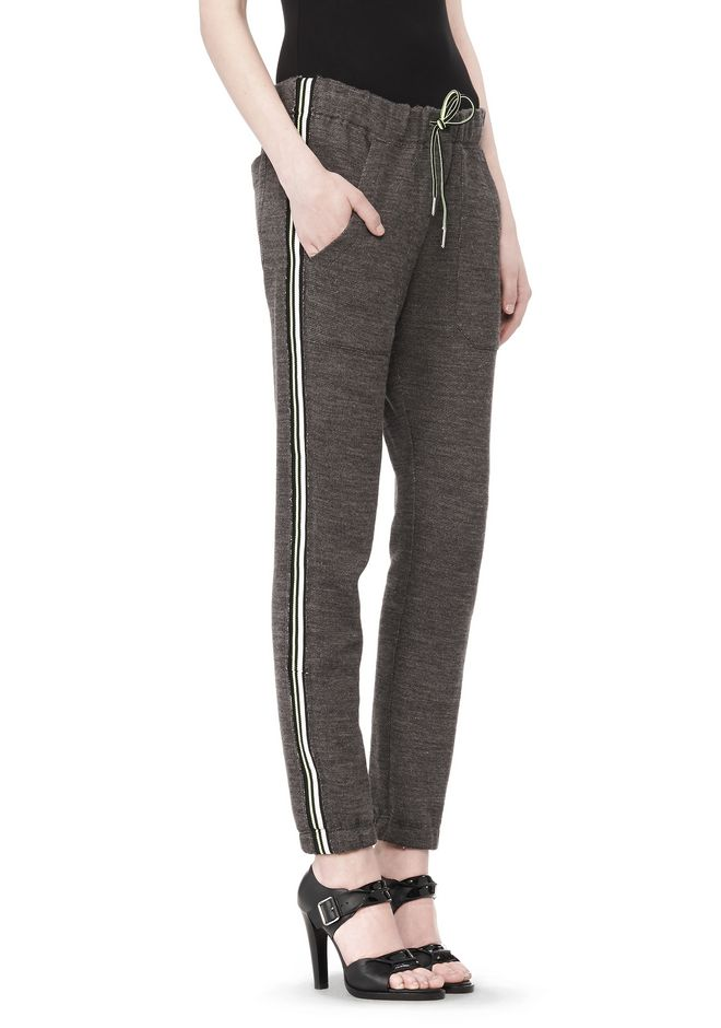 T by ALEXANDER WANG MELANGE FLEECE SWEATPANTS WITH RIB DETAIL PANTS Adult 12_n_e