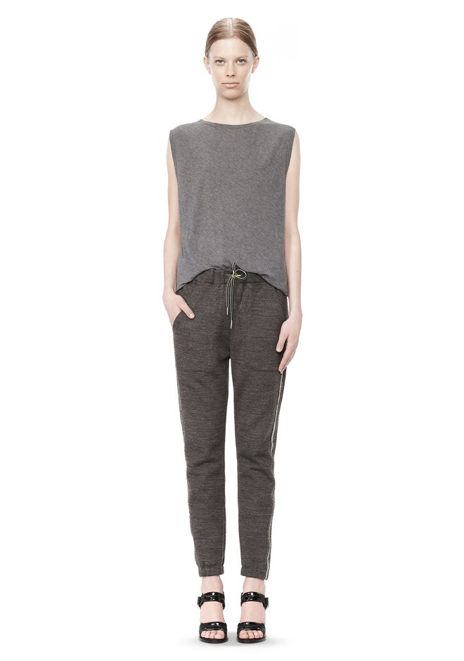 T by ALEXANDER WANG MELANGE FLEECE SWEATPANTS WITH RIB DETAIL