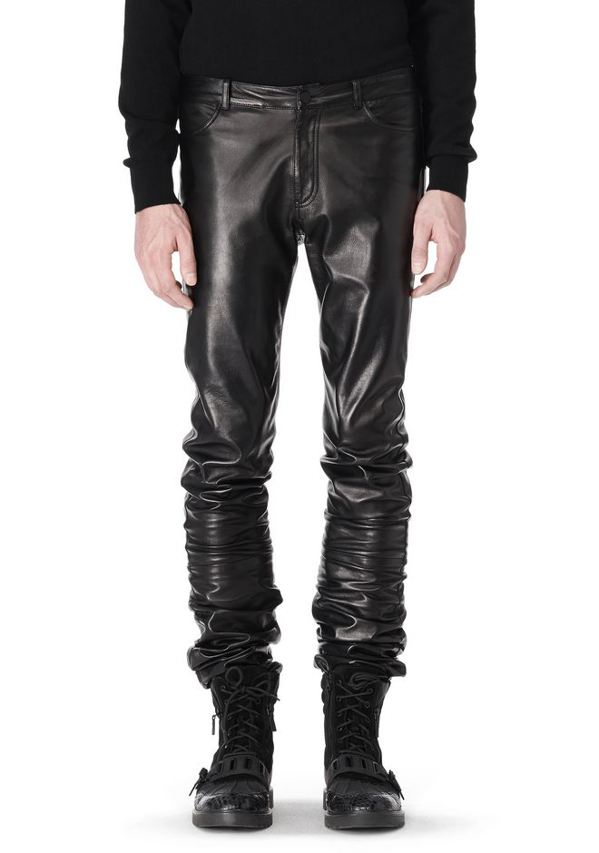 ALEXANDER WANG GATHERED LEATHER JEANS PANTS Adult 12_n_e