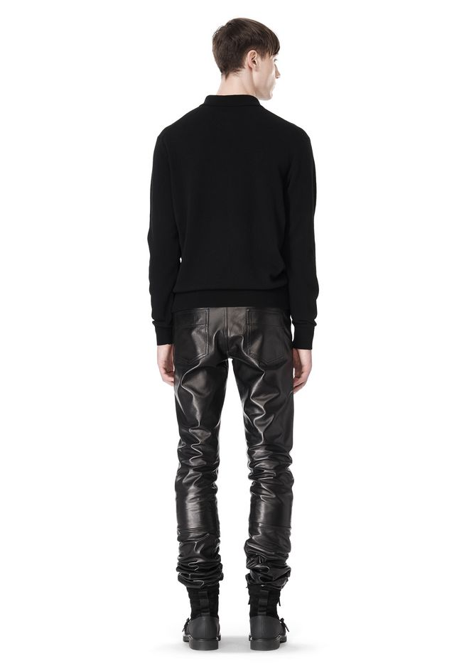 ALEXANDER WANG GATHERED LEATHER JEANS PANTS Adult 12_n_r