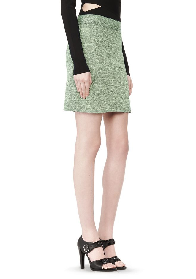STRETCH RAYON KNIT A-LINE MINI SKIRT