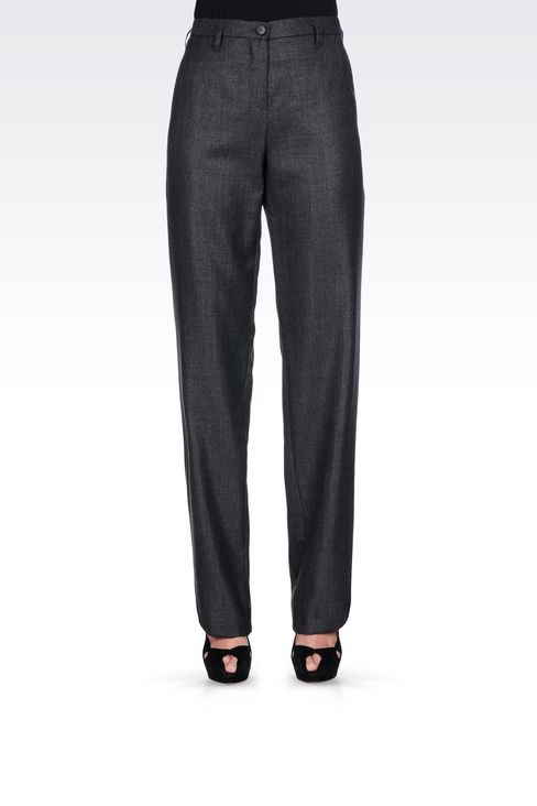 RUNWAY TROUSERS IN WOOL AND SILK: Straight leg trousers Women by Armani - 3