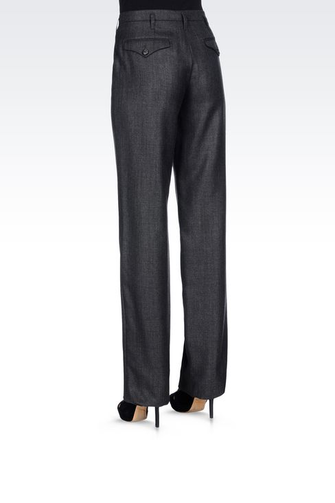 RUNWAY TROUSERS IN WOOL AND SILK: Straight leg trousers Women by Armani - 4