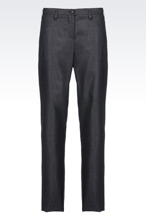 RUNWAY TROUSERS IN WOOL AND SILK: Straight leg trousers Women by Armani - 1