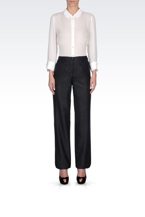 RUNWAY TROUSERS IN WOOL AND SILK: Straight leg trousers Women by Armani - 2