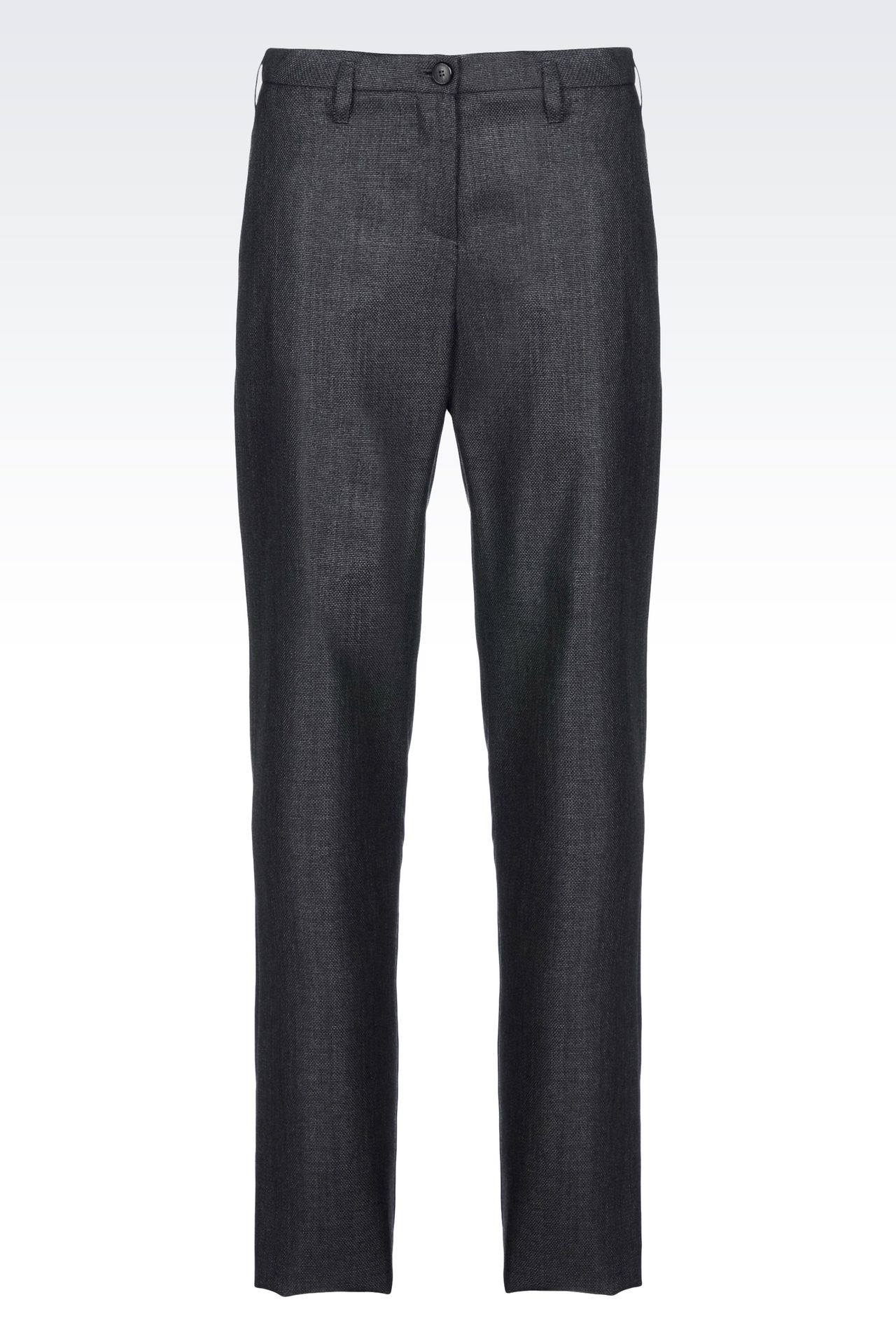 RUNWAY TROUSERS IN WOOL AND SILK: Straight leg trousers Women by Armani - 0