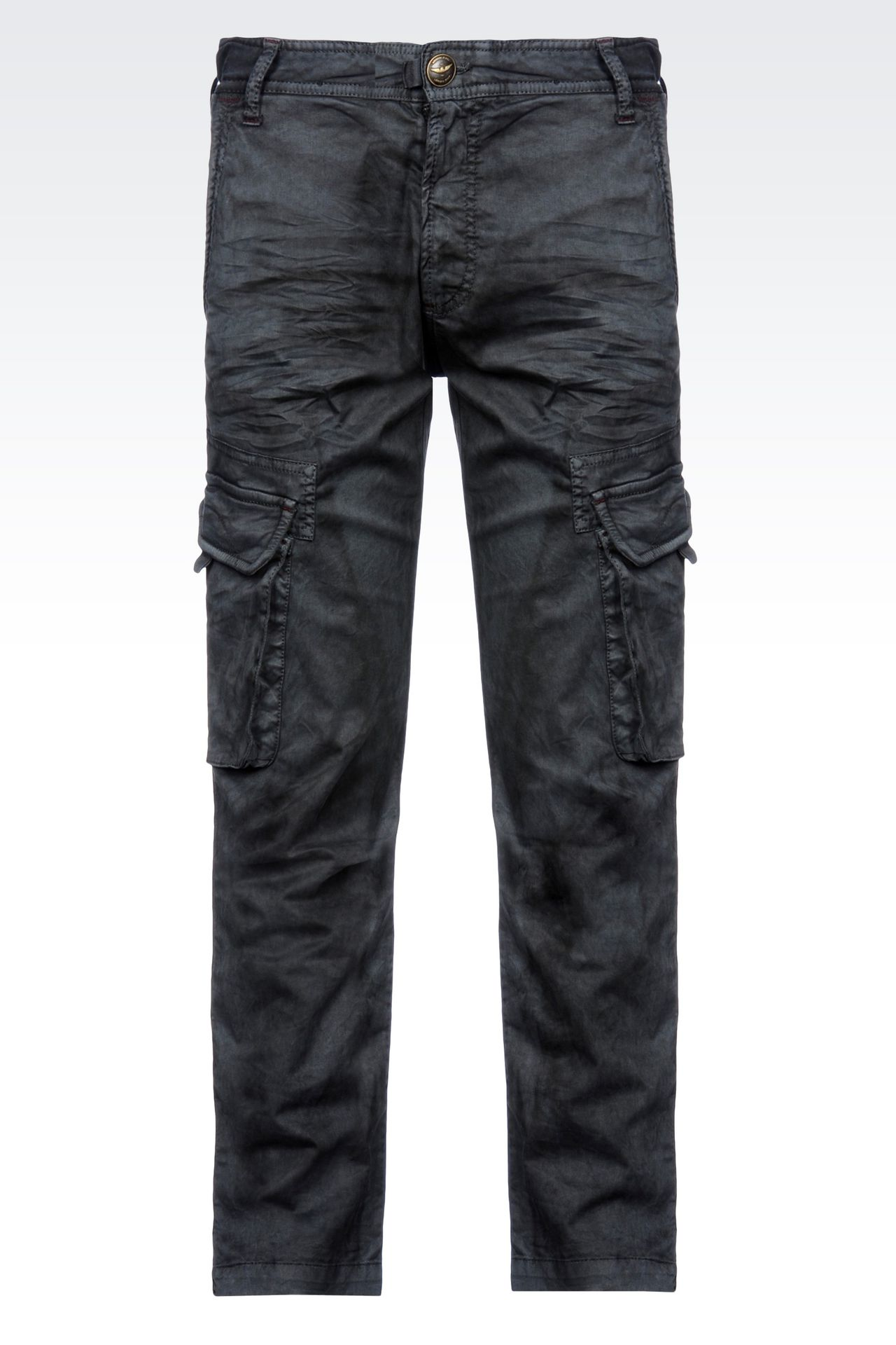 Armani Jeans Men CARGO PANTS IN STRETCH COTTON POPLIN - Armani.com