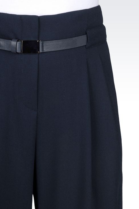 TROUSERS IN WOOL CRÊPE: Pants with tucks Women by Armani - 5