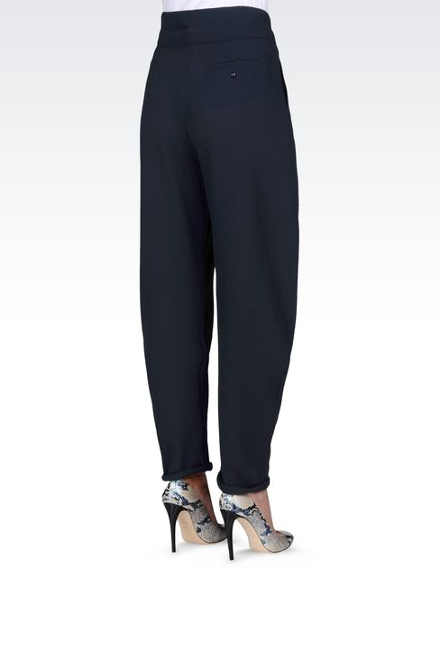 TROUSERS IN WOOL CRÊPE: Pants with tucks Women by Armani - 4