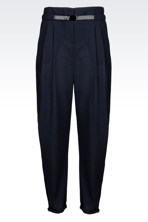 TROUSERS IN WOOL CRÊPE: Pants with tucks Women by Armani - 1