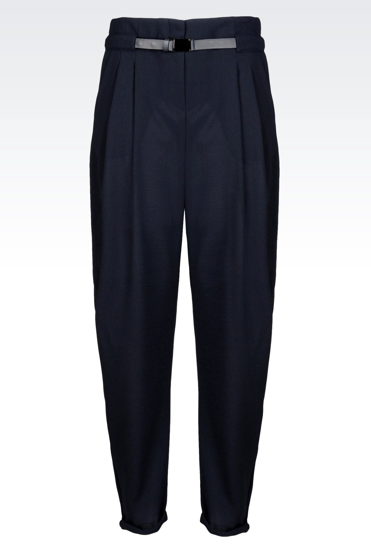 TROUSERS IN WOOL CRÊPE: Pants with tucks Women by Armani - 0