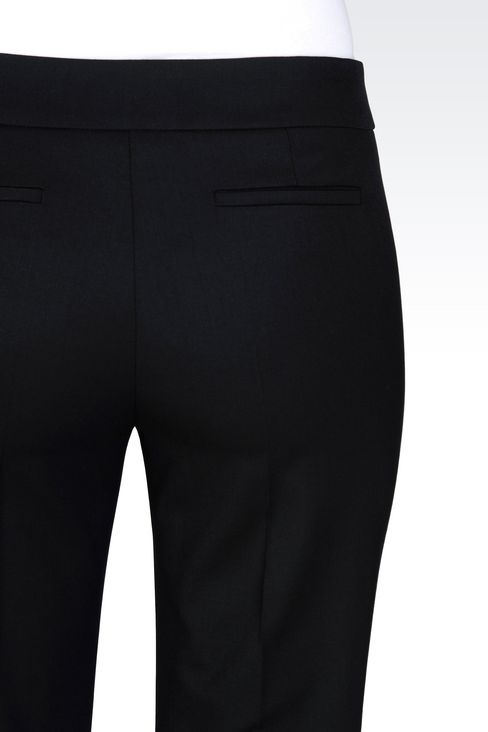TROUSERS IN STRETCH WOOL: Straight leg trousers Women by Armani - 5