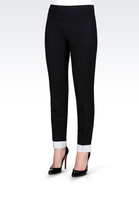 TROUSERS IN STRETCH WOOL: Straight leg trousers Women by Armani - 3