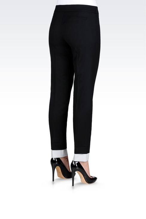 TROUSERS IN STRETCH WOOL: Straight leg trousers Women by Armani - 4