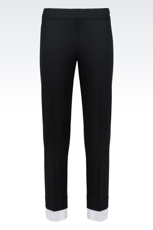 TROUSERS IN STRETCH WOOL: Straight leg trousers Women by Armani - 1