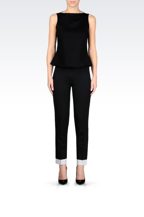 TROUSERS IN STRETCH WOOL: Straight leg trousers Women by Armani - 2