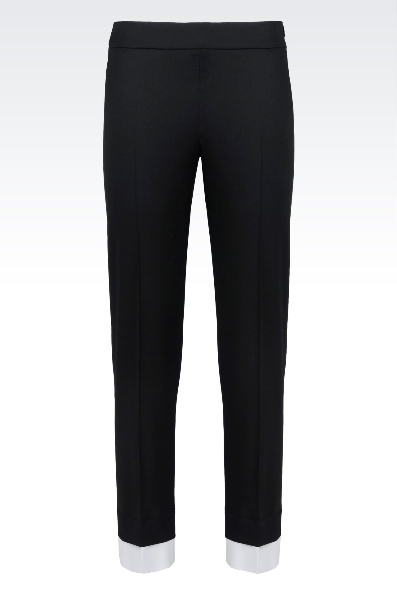 TROUSERS IN STRETCH WOOL: Straight leg trousers Women by Armani - 0