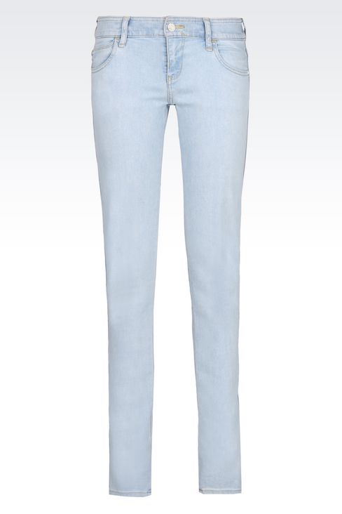 Armani Jeans Women SLIM FIT LIGHT WASH USED EFFECT JEANS - Armani.com